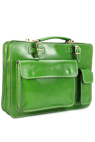 BELLI® Design-Bag Voll Leder Echt Leder Businesstasche anthik grün DIN A4 geeignet 39x29x11 cm (B x H x T)