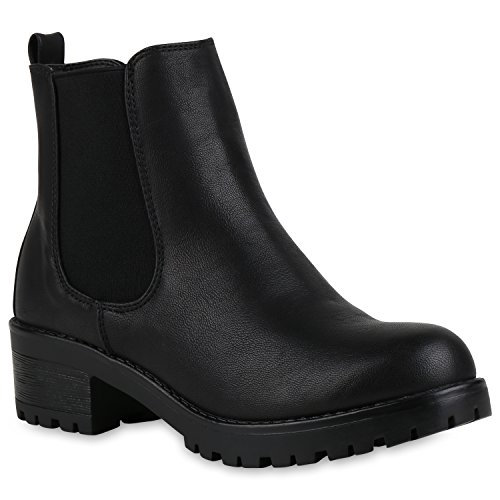 Leicht Gefütterte Damen Stiefeletten Plateau Schuhe Chelsea Boots 147238 Schwarz Black Arriate 39 Flandell