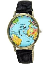 Moda mujeres hombres vintage tierra mundo mapa Reloj Denim Tela Muñeca relojes negro