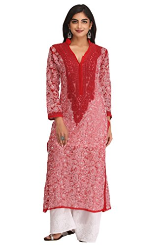 ADA Hand Embroidered Lucknow Chikan Faux Georgette Kurta Kurti (A237437_Red)