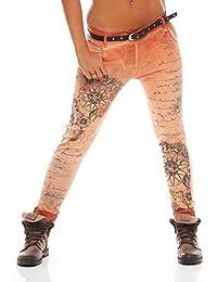 ZARMEXX Pantalones de mujer novio Jeans holgados Jeggings Stretch de pantalones de algodón con la correa 10912 Carta -Imprimir fantasía