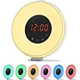 LOBKIN Wake Up Light, Sunrise Simulation Alarm Clock Bedside Lamp Night Light with Snooze/Sunset Function, Nature Sounds, FM Radio, 7 Colors Changing, Touch Control and USB Charger (Weiß)