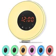 LOBKIN Luz Despertador,despertador con Luz que simula el amanecer, Lámpara de noche con función despertador / puesta del sol, sonidos de la naturaleza, radio de FM, 7 colores de Luz, control del tacto y cargador USB. (blanco)