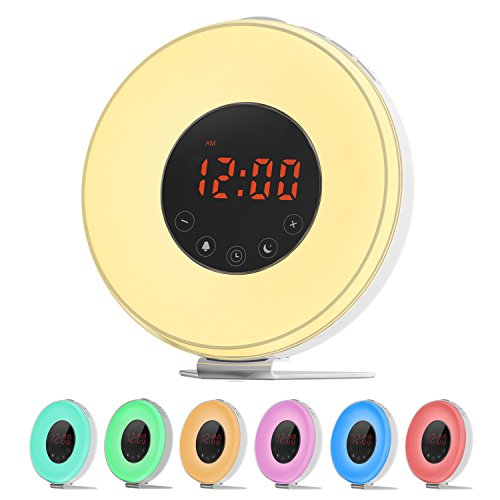 LOBKIN Luz Despertador , despertador con Luz que simula el amanecer, Lámpara de noche con función despertador / puesta del sol, sonidos de la naturaleza, radio de FM, 7 colores de Luz, control del tacto y cargador USB. (blanco)