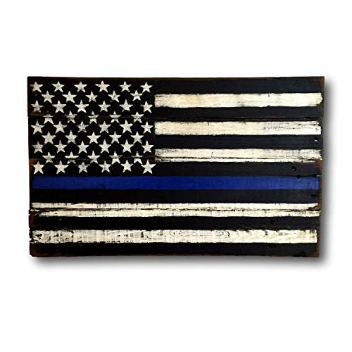 cwb2jcwb2jcwb2j Thin Blue Line Wood Flag - Police Officer Gift - Police Officer Decor - Police Officer Sign - Police Academy Graduation Gift - Cop Gift