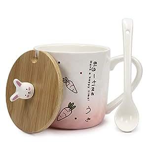 Hase Tasse mit Keramik Löffel & Echt-Holz Deckel für optimale Thermoeigenschaften von Urhome I Deckel als Untersetzer I Tee-Tasse Ostern Kaffeetasse Frühstück Kaffee-Becher Mug Rosa