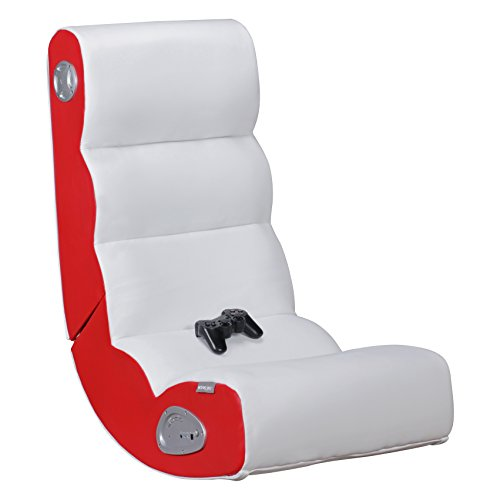 FineBuy Soundchair Wave in Weiß Rot | Musiksessel mit eingebauten Lautsprechern | Multimediasessel für Gamer | Musiksessel 2.1 Soundsystem - Subwoofer | Music Gaming Rocker Racing Chair