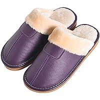 BESTOYARD Zapatillas de Cuero de Invierno Forro de Piel sintética Zapatilla de Felpa Pareja Casa Interior Algodón (púrpura)
