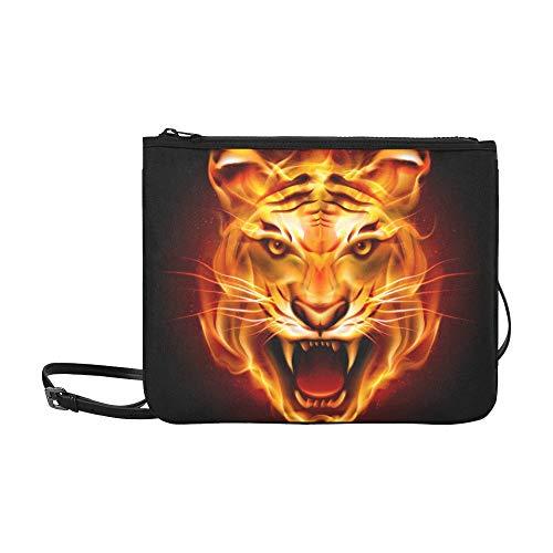 (WYYWCY Kopf Tiger Zungen Flamme auf benutzerdefinierte hochwertige Nylon dünne Clutch Cross Body Bag Schultertasche)