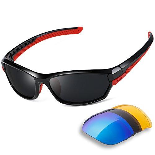 DUCO Polarisiert Sports Herren Sonnenbrillen für Ski Driving Golf Laufen Radfahren Tr90 Superlight Rahmen mit 3 Wechselgläsern 6216 (Rot)