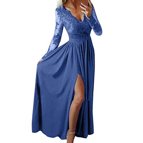 Felicove Damen Spitze Ballkleid, Frauenkleid Frühling Spitzenkleid Abend Partykleid Elegant Hochzeitskleid Vintage Ballkleid Langes Kleid Empirekleid mit tiefem V-Ausschnitt (S, Blau)