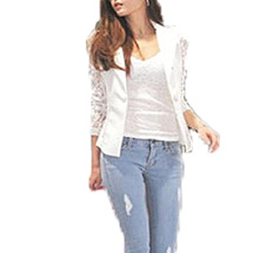 Price comparison product image Bestop Autumn Women Sexy Long Hollow Sleeve Lace Crochet Blazer Slim Blazer Jacket Suit (M, white)