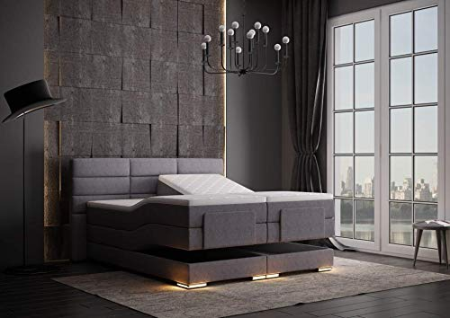 HG Royal Estates GmbH Roma Designer Boxspringbett elektrisch inkl. LED-Beleuchtung, Kaltschaum Topper, Bonellfederkernmatratze, H3, Grau Stoff Größe 180 x 200 cm