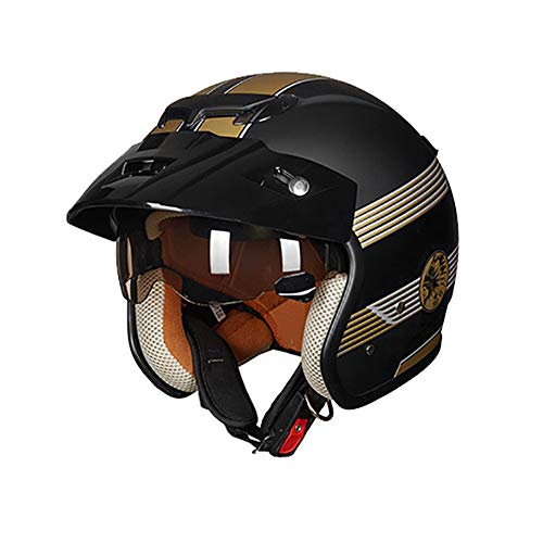 ZNDDB motorradhelm - ABS Material Four Seasons universeller Abnehmbarer und waschbarer gefütterter Helm, Motorrad/Elektroauto / Rollerhelm, Halbhelm,A,L