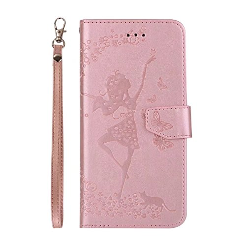 EKINHUI Case Cover Abnehmbare 2 in 1 Crazy Horse Texture PU Ledertasche, Fairy Girl Embossed Pattern Flip Stand Case Tasche mit Lanyard & Card Cash Slots für iPhone 7 Plus ( Color : Red ) Rosegold