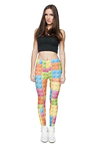Femmes Mesdames Leggings Longueur complet extensible Collants Pantalon pour ne pas voir à travers Fitness Yoga Running Hipster UK 81012 Multicolore - LEGO