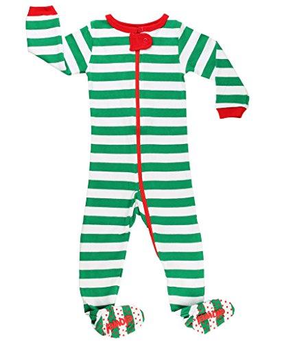 """Elowel pigiama da bimba unisex bambini bambine e ragazze, pezzo unico, linea: """"natale a strisce"""", verde e bianco, dai 6 mesi a 5 anni 4 anni"""