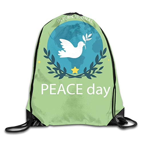 HRTSHRTE Peace World Peace Dove Olive Branch Patterned Themed Printed Drawstring Bundle Book School Shopping Travel Back Bags Draw String Gym Backpack Bulk Girl Boy Women Men -