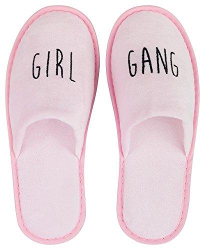 15cc73288f548 likalla Wellness-Slipper geschlossen mit schwarzer GIRL GANG Bestickung in  rosa