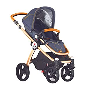 High Landscape Baby Stroller Can Sit Reclining Folding Multi-Function Children Car Shock Baby Four-Wheeled Trolley Comfortable (Color : B)   14