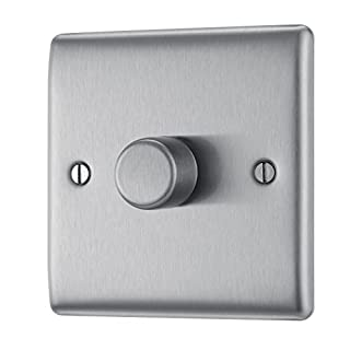 BG Electrical NBS81P 400W Single 2-Way Metal Brushed Steel Push On/ Off Dimmer Switch