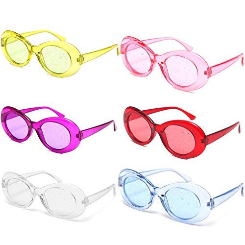 OAONNEA 6 Paare Sonnenbrille Oval Retro für Damen Vintage Clout Goggles UV400 Schutz Party Sonnenbrille (6Clear)