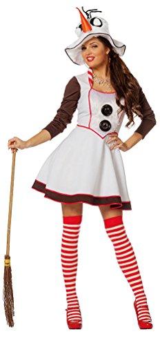 Frau Hut Mit Schnee Kostüm - Karneval-Klamotten Schneemann Kostüm Damen Schneefrau Damen-Kostüm Erwachsene mit Hut Schal Gürtel Weihnachten Karneval Größe 48
