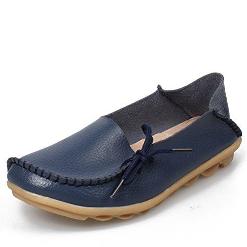 Miagolio Donna Scarpe Stringate Basse Mocassino Flats In Pelle Morbide Casuale Di Vari Colori Tglia 34-43 Blu scuro