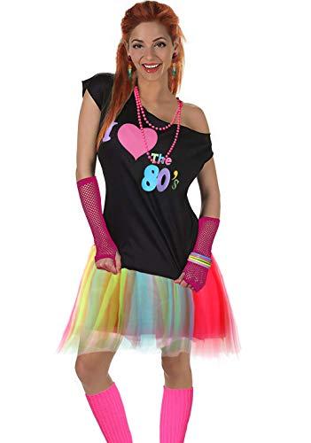 Fun Daisy Clothing Damen I Love The 80er Jahre T-Shirt 80er Jahre Outfit Zubehör, Regenbogen - UK 14-16 / M-L (80er Rock Outfit)