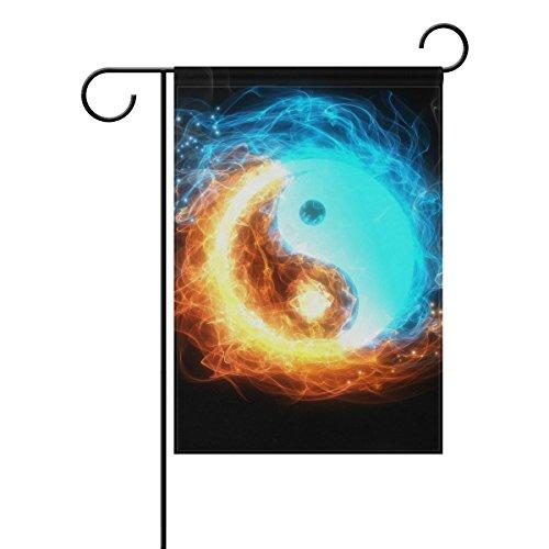 jstel Home Yin Yang Polyester-Eis und Feuer-Garten Flaggen Lovely und Schimmelresistent Custom von Wasserdicht 30,5x 45,7cm