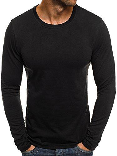 OZONEE Herren Longsleeve Langarmshirt Sweatshirt Motiv Basic Fitness Sport Gym Training Täglichen Crewneck Modern Streetwear J.Style 2088 XXL SCHWARZ