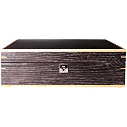 AXIS® Luxury Ginkgo Matte Finish lockable Wooden 10 Watch box