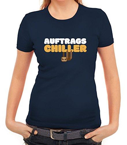 Faultier Damen T-Shirt mit Auftrags-Chiller Motiv von ShirtStreet Dunkelblau