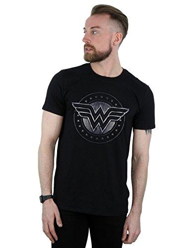 DC Comics Herren Wonder Woman Star Shield T-Shirt Large Schwarz (Womens Shield Tee)