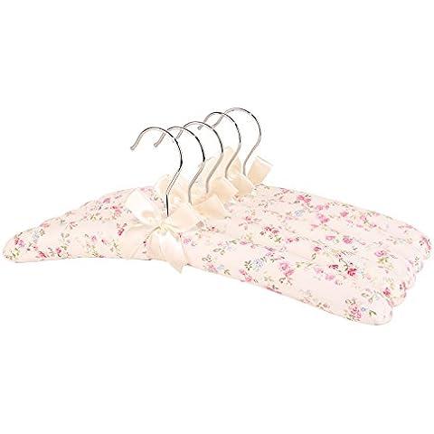 Tela Neoviva perchero Set para mujeres con madera y esponja acolchada para vestidos de novia,, Lingerie, Lana artículos, tela, Floral White Ocean, 38(L)CM for Women