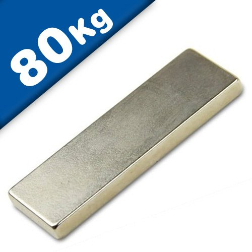 Quadermagnet Magnet-Quader 60 x 20 x 5mm Neodym N45 (NdFeB) Nickel - hält 80 kg - starke Block-Magnete (Supermagnete) mit extremer Haftkraft für Industrie und Zuhause
