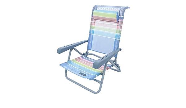 Meerweh Strandstuhl mit Verstellbarer R/ückenlehne und Kopfpolster Klappstuhl Anglerstuhl Campingstuhl blau//gr/ün