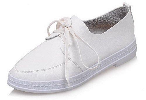 AgooLar Femme à Talon Bas Couleur Unie Lacet Rond Chaussures Légeres Blanc