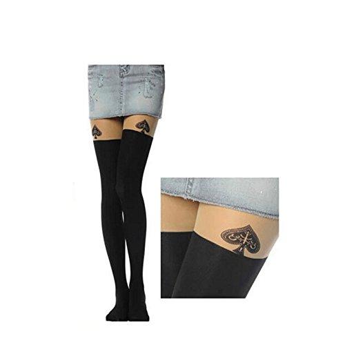 HuntGold 1 animal de la historieta tatuaje largas Calcetines Medias Pantys Medias de las mujeres atractivas(D)
