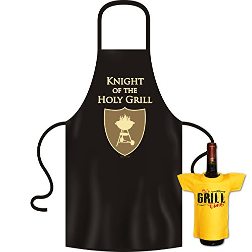 tolle bedrucke Grillschürze im Set + Mini T-Shirt Knight Geburtstag Geschenk Grill Schürze Kochschürze Latzschürze Partyschürze Küche Goodman Design®