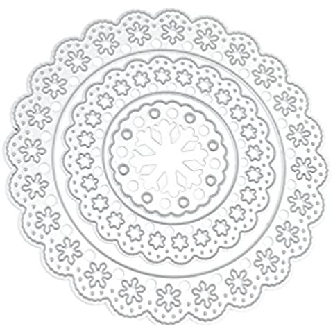 Lychee 3 Pezzi DIY Fustelle Strumento Cutting Dies Album Carta Maker Scrapbooking Lace Lato Fiore Cerchio