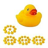 Relaxdays 48 x Badeente 5 cm, klassisches Quietscheentchen für die Badewanne, Badespielzeug für Groß und Klein, Gummiente , gelb