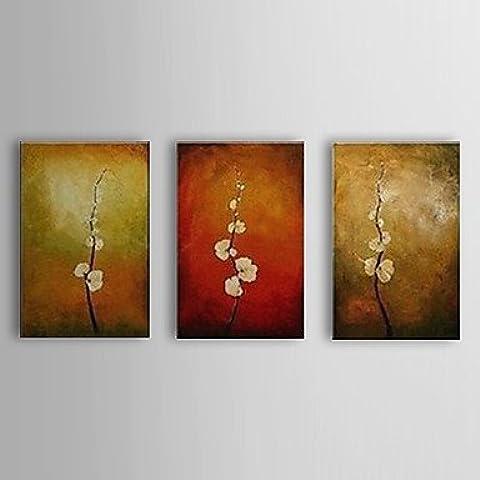 EIK olio dipinto a mano pittura rami botaniche di fiori con set telaio allungato di 3 1307-fl0162