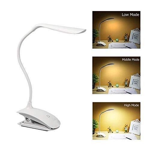 Wiederaufladbare USB LED Schreibtischlampe, NOTENS verstellbarer Schwanenhals LED-Lese-Augenschutz Tischleuchte mit Clip Touch-Schalter -