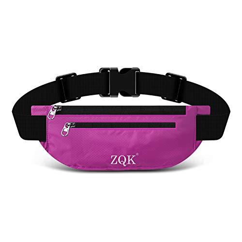 Laufgürtel Schlüssel Hüfttasche, Lauftasche für Handy, Sport Jogging Fitness Gürtel iPhone 6 7 Plus + Samsung Galaxy S7 Edge S8 + Plus Huawei HTC ZTE UVM. (Lila)