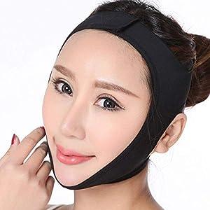 LQUIDE Leichte und atmungsaktive Gesichtsbinde, Gesichtsmaske/Facelifting straffendes Gesicht (schwarz), M