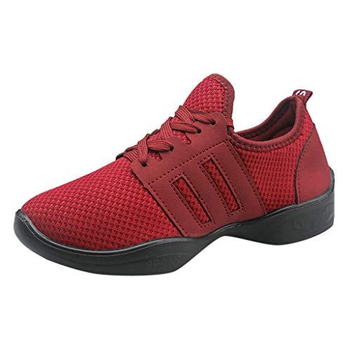 Fenverk Damen Leichte Freizeitschuhe Slip On Sneakers Atmungsaktiv Turnschuhe Bequem Sportschuhe Herren Outdoor Fitnessschuhe Sneaker Laufschuhe SchnüRer 36-41(Red,39 EU) -