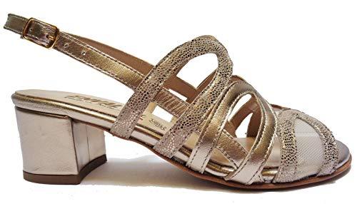 ENVAL SOFT Sandali da Donna Linea Comoda in Pelle Platino Tacco cm.5,Num.38