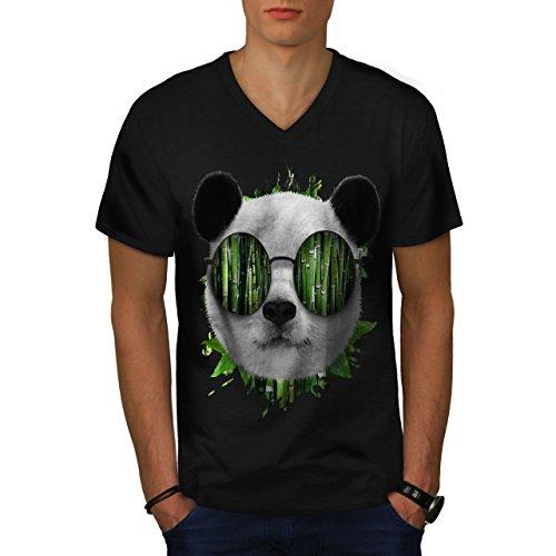 Bambus Panda Bär Cool Brille Herren S V-Ausschnitt T-shirt | Wellcoda (Bambus Hawaii-shirt)