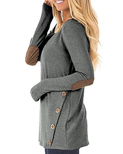 Anyu Donna Maniche Lunghe Pullover Magliette Camicia con La Decorazione dei Bottoni Grigio scuro